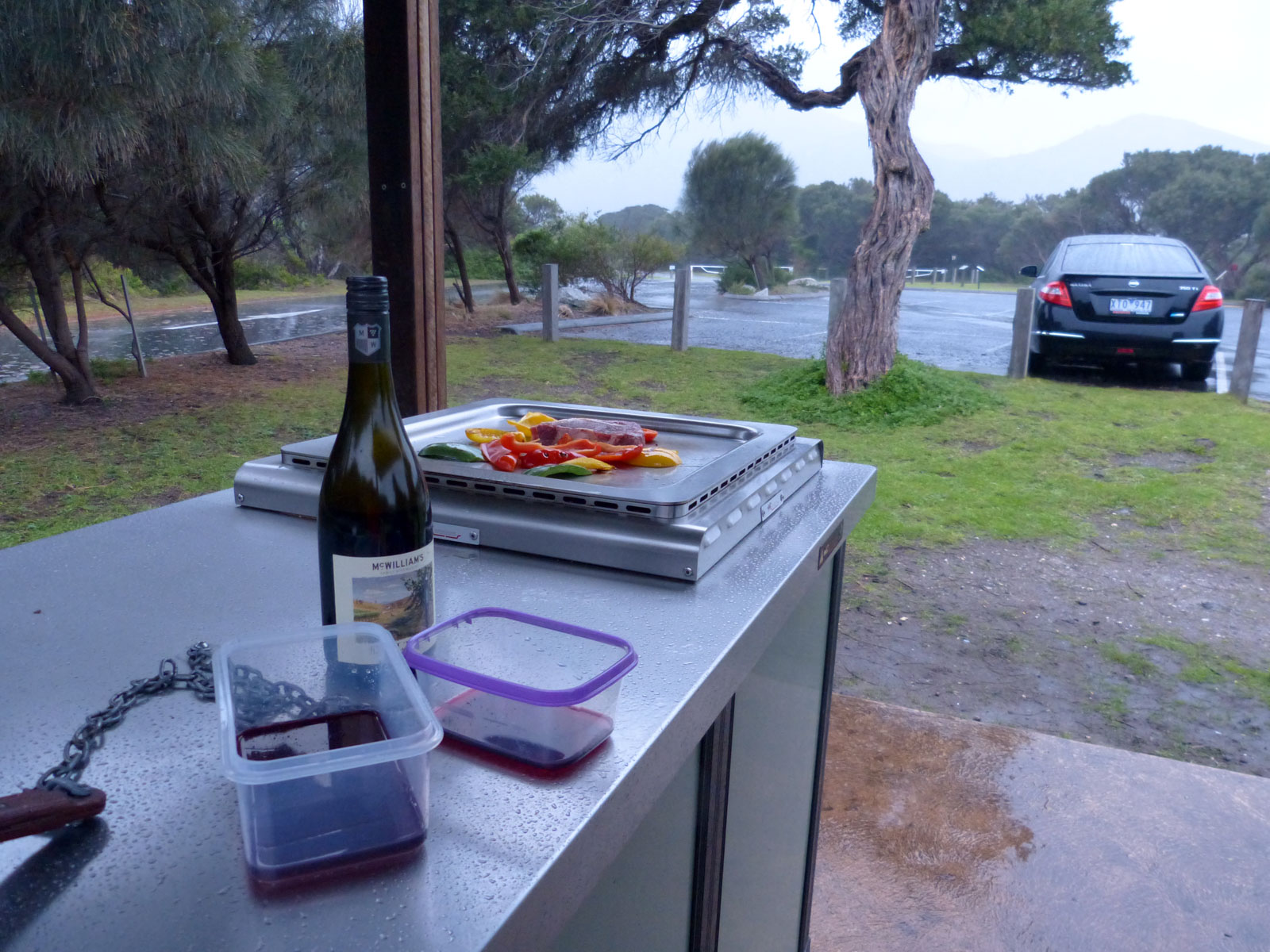 All set up for BBQ in the rain