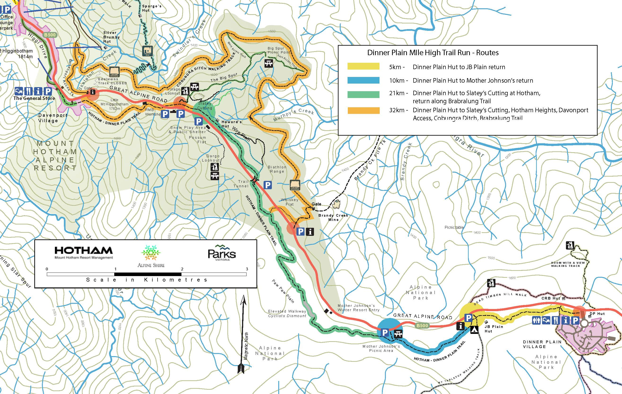 Dinner Plain Mile High Trail Run map s