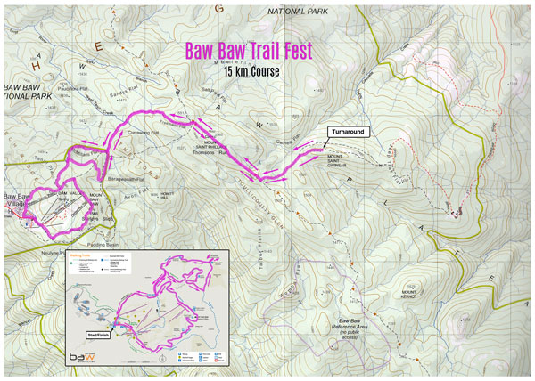 Mt Baw Baw Trail Fest 15 km map