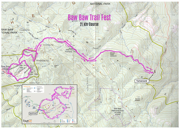 Mt Baw Baw Trail Fest 21 km map