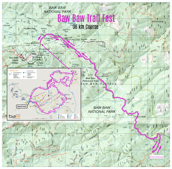 Mt Baw Baw Trail Fest 36 km map