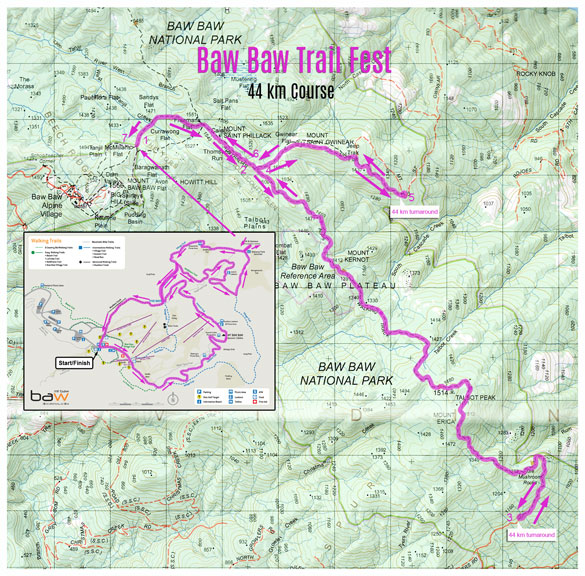 Mt Baw Baw Trail Fest 44 km map
